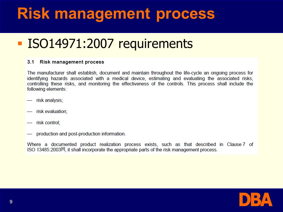 Risk Analysis ISO14971:2007 30