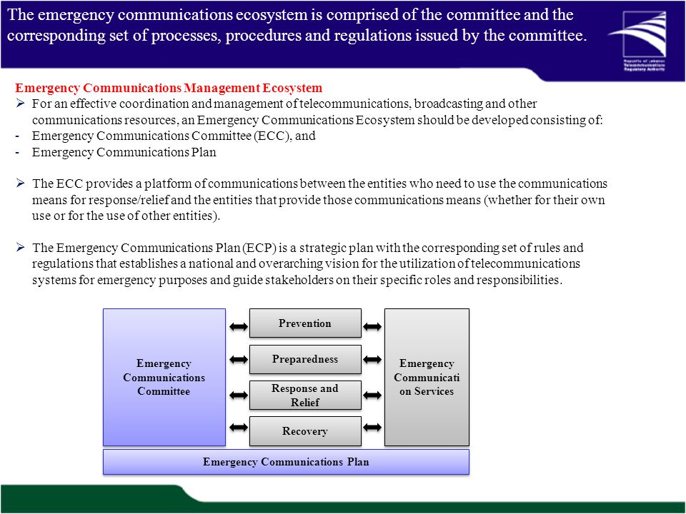 The emergency communications ecosystem is comprised of the committee and the corresponding set of processes, procedures and regulations issued by the