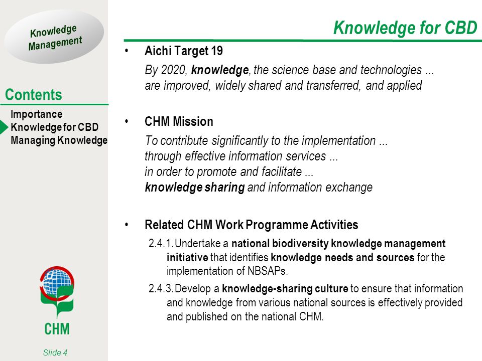 Knowledge Management Importance Knowledge for CBD Managing Knowledge Contents Slide 4 Knowledge for CBD Aichi Target 19 By 2020, knowledge, the scienc