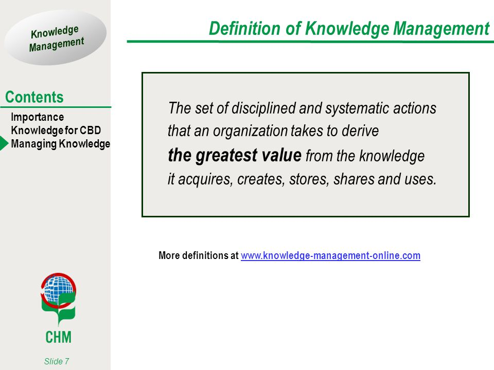 Knowledge Management Importance Knowledge for CBD Managing Knowledge Contents Slide 7 Definition of Knowledge Management The set of disciplined and sy