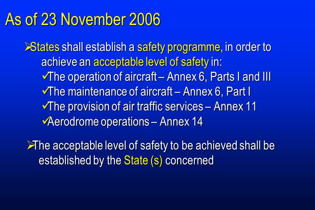 As of 23 November 2006 States shall establish a safety programme, in order to achieve an acceptable level of safety in: States shall establish a safety programme, in order to achieve an acceptable level of safety in: The operation of aircraft – Annex 6, Parts I and III The operation of aircraft – Annex 6, Parts I and III The maintenance of aircraft – Annex 6, Part I The maintenance of aircraft – Annex 6, Part I The provision of air traffic services – Annex 11 The provision of air traffic services – Annex 11 Aerodrome operations – Annex 14 Aerodrome operations – Annex 14 The acceptable level of safety to be achieved shall be established by the State (s) concerned The acceptable level of safety to be achieved shall be established by the State (s) concerned