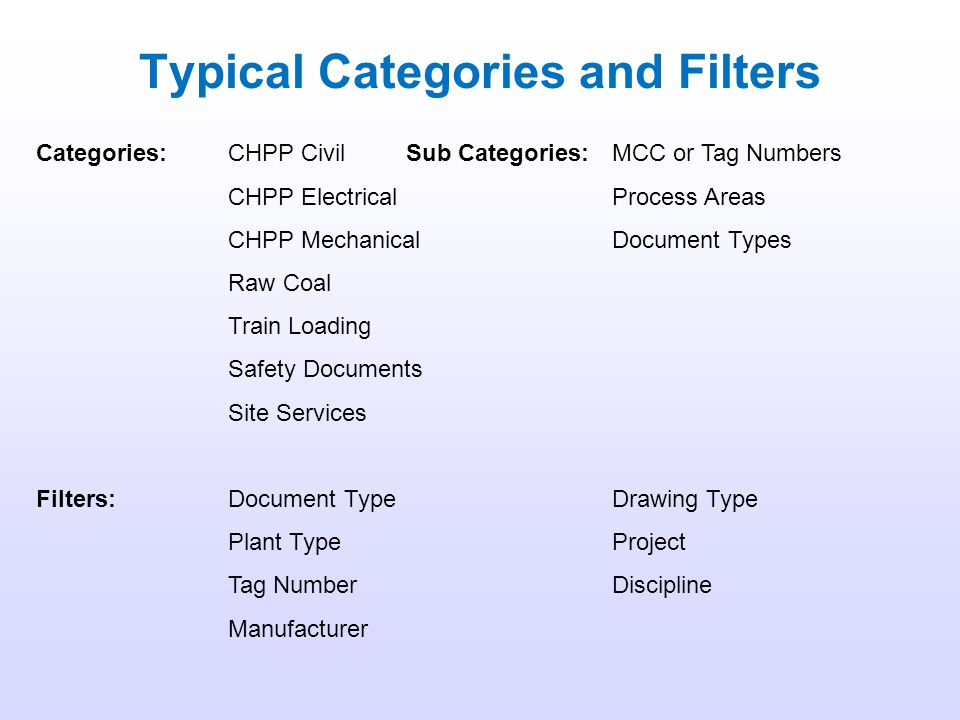 3. Category and Filter Searching Every document in the DMS must be given a Category and Sub Category, and can be given up to 10 Filters. By selecting