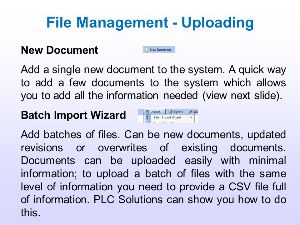 Management on the DMS is comprised of 3 things: Management of Files Management of Data Management of Users A Base User on the system does not have acc