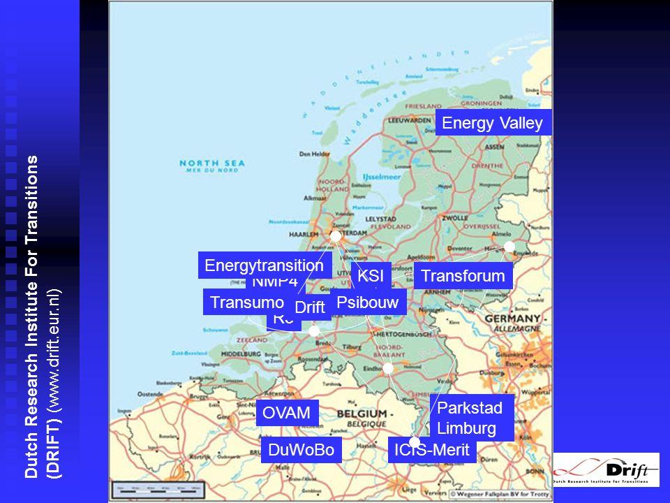 Dutch Research Institute For Transitions (DRIFT) (www.drift.eur.nl) NMP4 ICIS-MeritDuWoBo Energy Valley OVAM R3 Parkstad Limburg Energytransition KSI Drift Transforum PsibouwTransumo