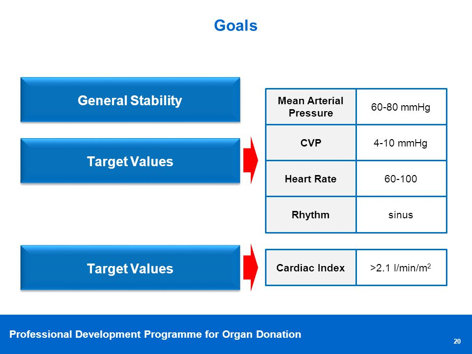 Professional Development Programme for Organ Donation Goals 20 General Stability Target Values Mean Arterial Pressure 60-80 mmHg CVP 4-10 mmHg Heart Rate 60-100 Rhythm sinus Target Values Cardiac Index >2.1 l/min/m 2