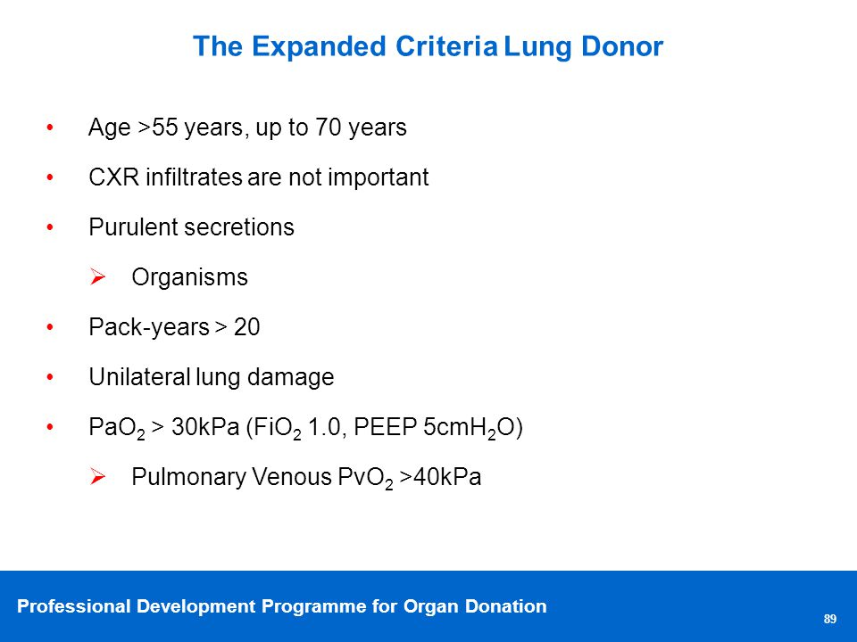 Professional Development Programme for Organ Donation The Expanded Criteria Lung Donor 89 Age >55 years, up to 70 years CXR infiltrates are not important Purulent secretions Organisms Pack-years > 20 Unilateral lung damage PaO 2 > 30kPa (FiO 2 1.0, PEEP 5cmH 2 O) Pulmonary Venous PvO 2 >40kPa