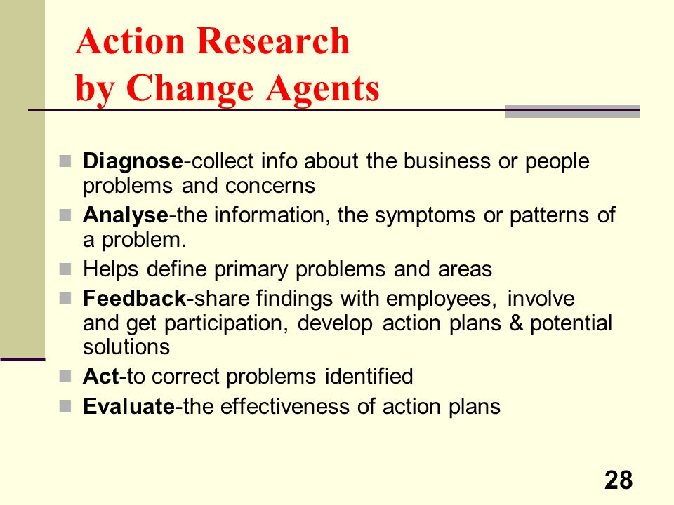 28 Action Research by Change Agents Diagnose-collect info about the business or people problems and concerns Analyse-the information, the symptoms or