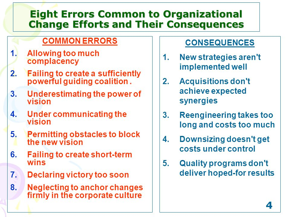 4 Eight Errors Common to Organizational Change Efforts and Their Consequences COMMON ERRORS 1.Allowing too much complacency 2.Failing to create a suff