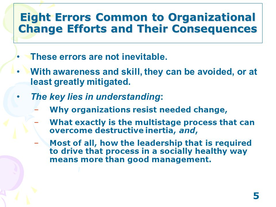 5 These errors are not inevitable. With awareness and skill, they can be avoided, or at least greatly mitigated. The key lies in understanding: –Why o
