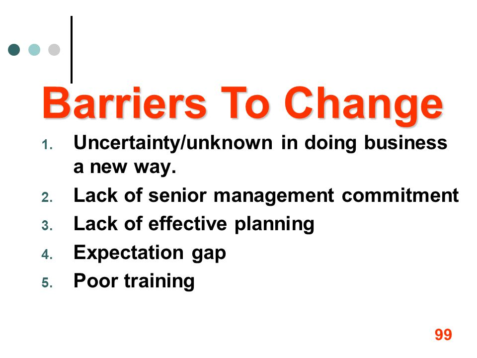 99 1. Uncertainty/unknown in doing business a new way. 2. Lack of senior management commitment 3. Lack of effective planning 4. Expectation gap 5. Poo