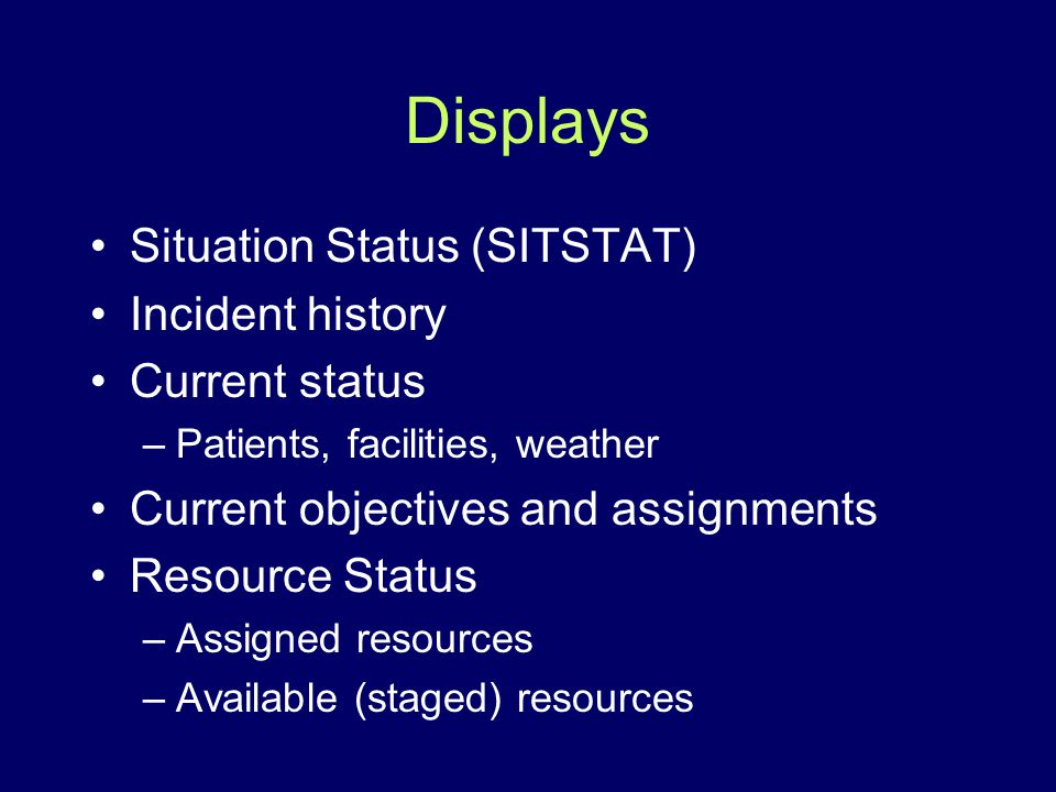 Displays Situation Status (SITSTAT) Incident history Current status –Patients, facilities, weather Current objectives and assignments Resource Status