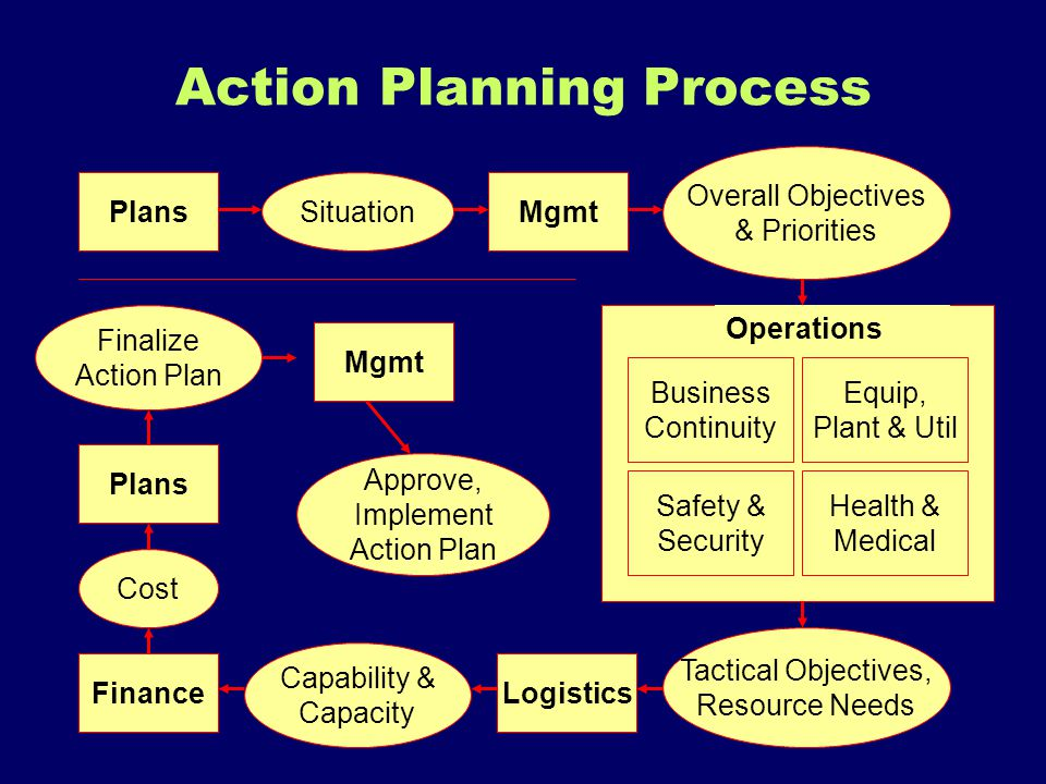 Action Planning Process MgmtPlans LogisticsFinance Business Continuity Safety & Security Equip, Plant & Util Health & Medical Operations Overall Objec
