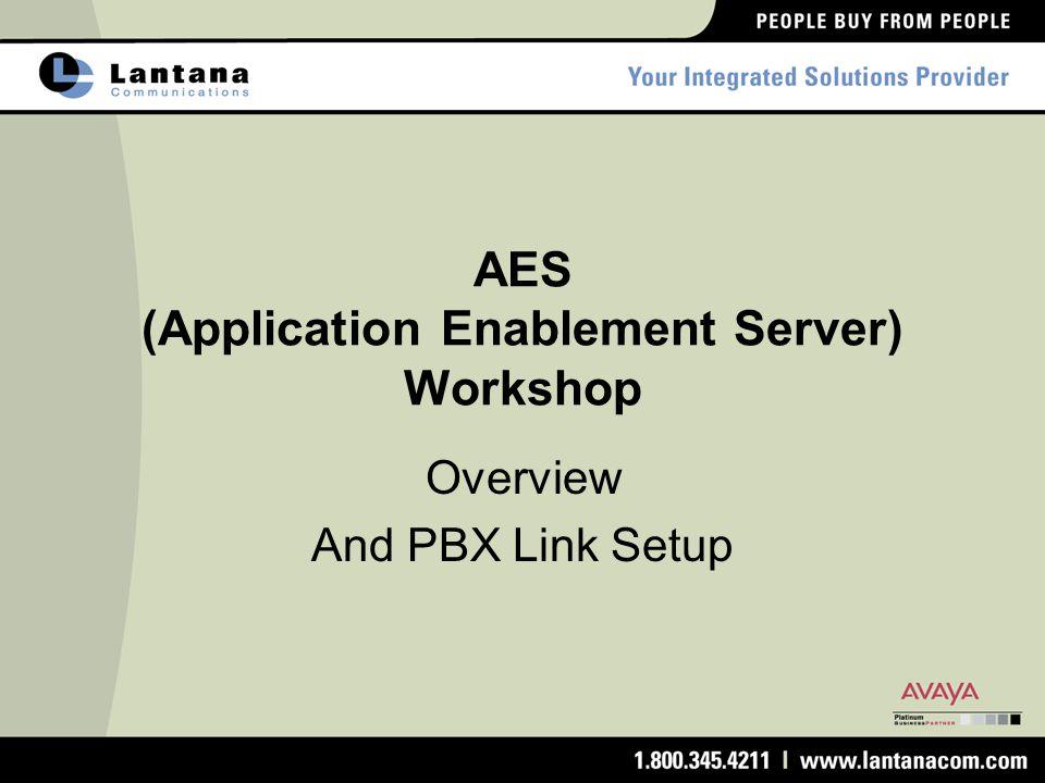 AES (Application Enablement Server) Workshop Overview And PBX Link Setup
