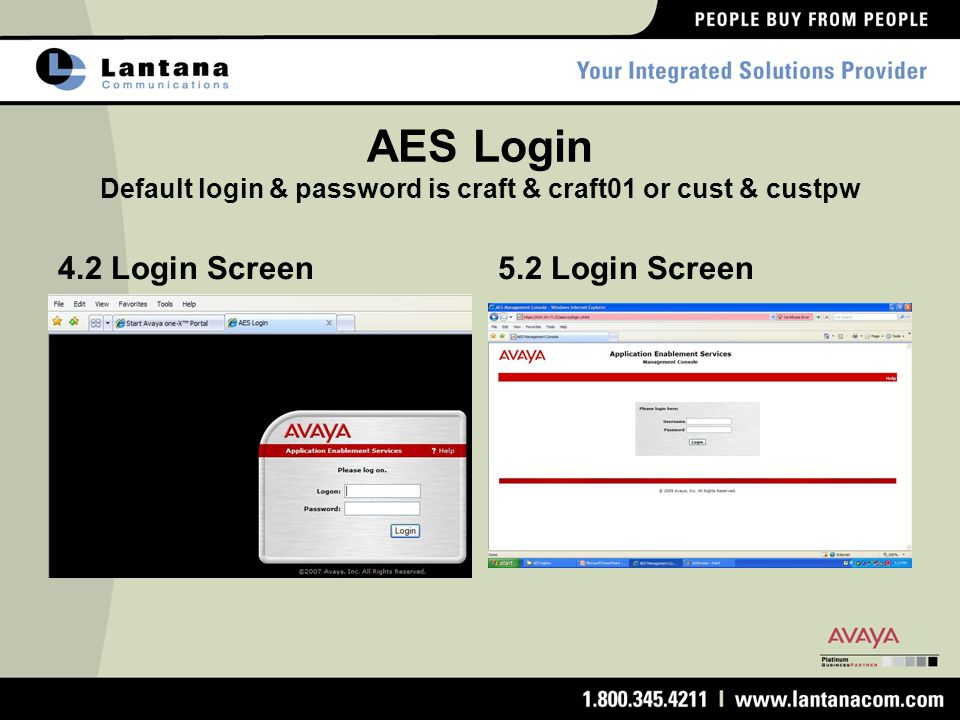 AES Login Default login & password is craft & craft01 or cust & custpw 4.2 Login Screen5.2 Login Screen