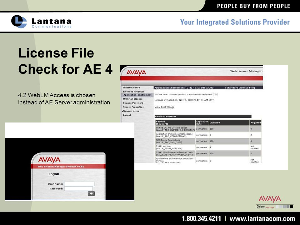 License File Check for AE 4 4.2 WebLM Access is chosen instead of AE Server administration