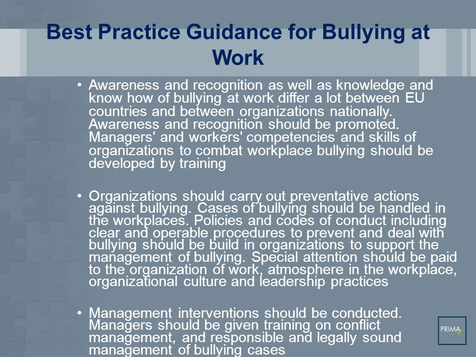 Best Practice Guidance for Third Party Violence at Work All workplaces with a high risk for violence of third parties should have codes of conduct, guidelines and crisis plans for the prevention and management of violent incidents All workers should be given training to help them handle and deal with violent incidents.