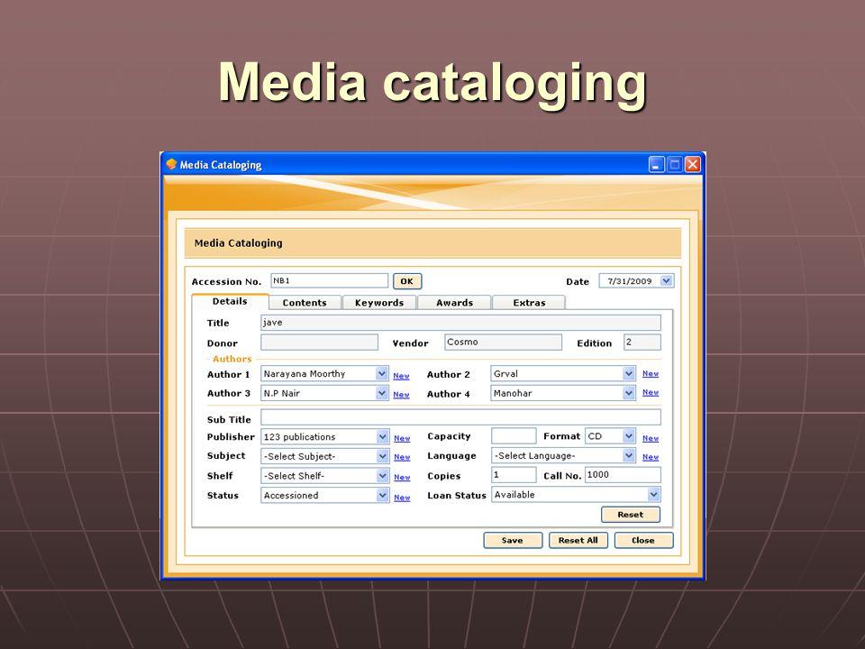 Media cataloging