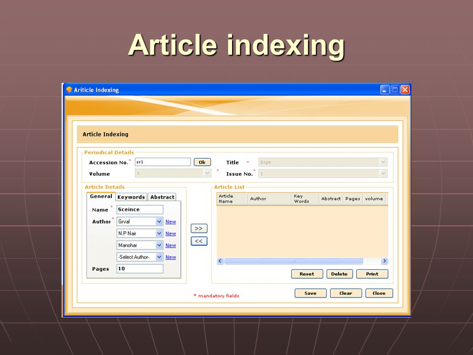 Article indexing