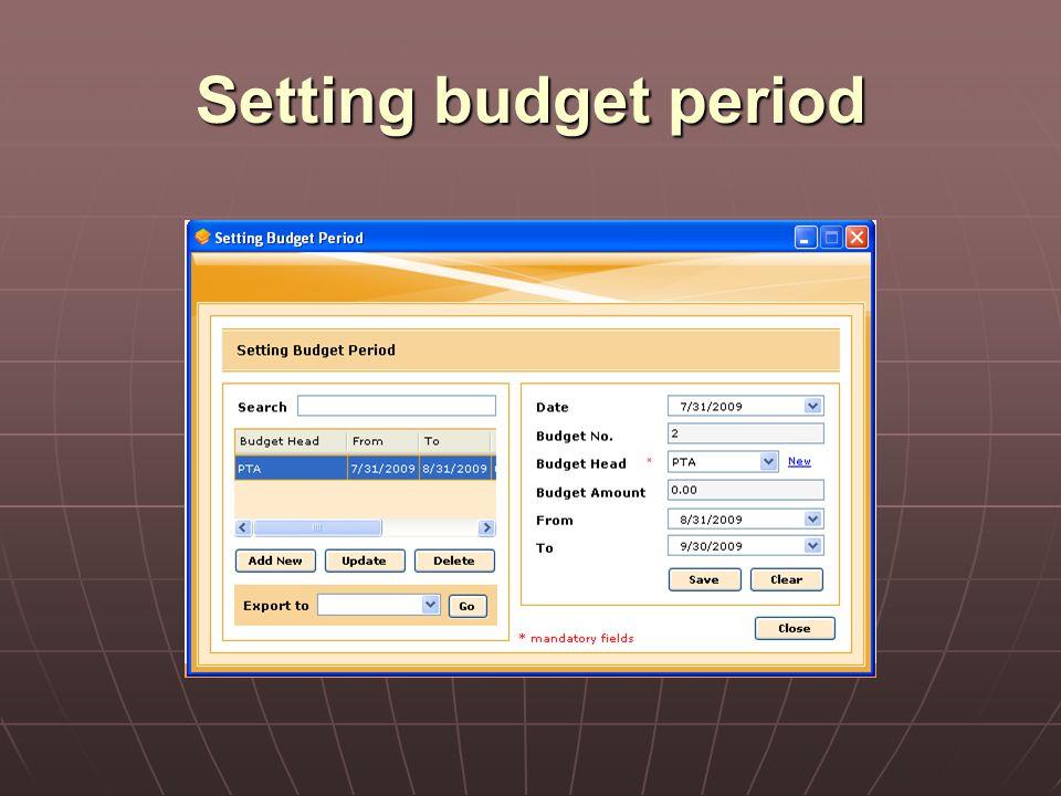 Setting budget period