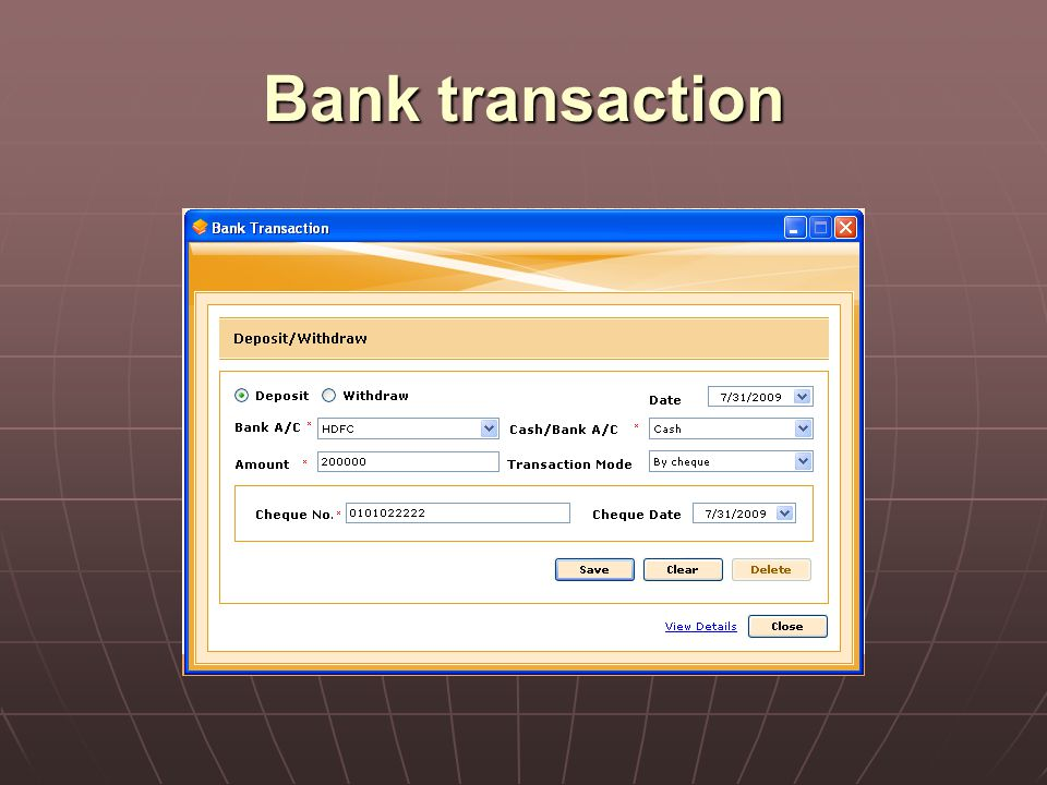 Bank transaction