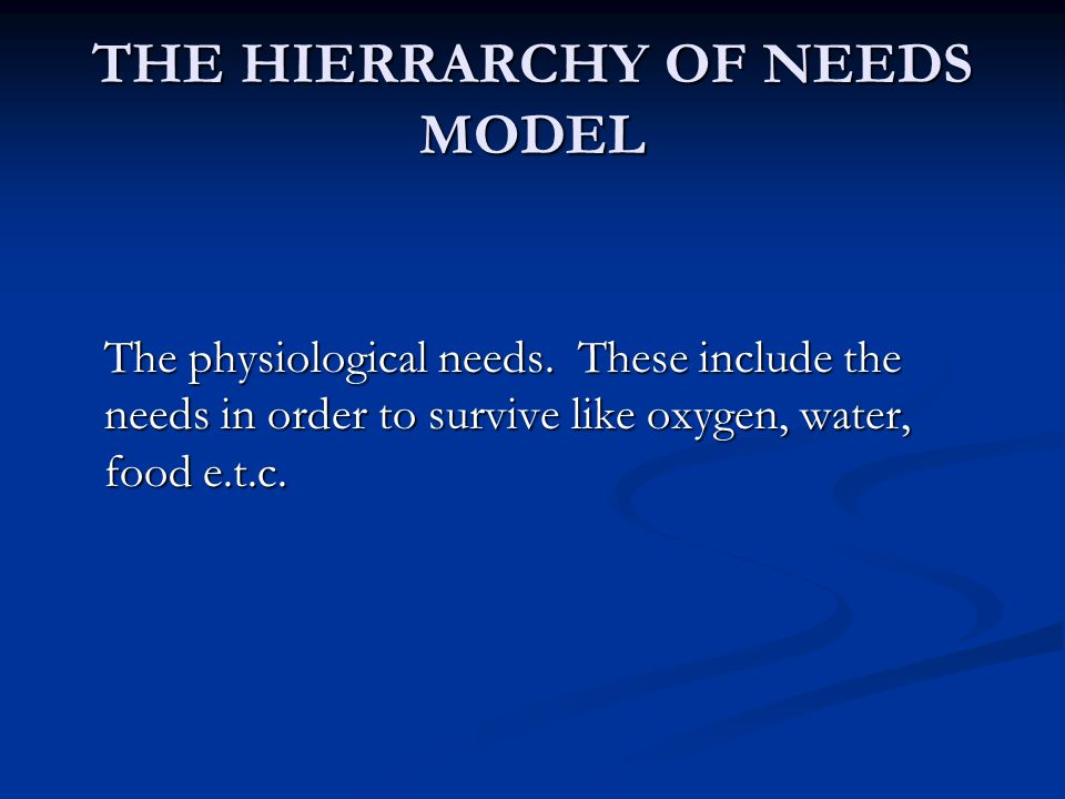 THE HIERRARCHY OF NEEDS MODEL The physiological needs.