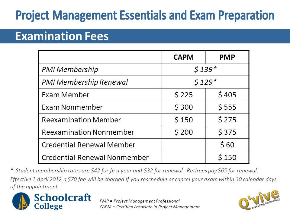 Examination Fees CAPMPMP PMI Membership$ 139* PMI Membership Renewal$ 129* Exam Member$ 225$ 405 Exam Nonmember$ 300$ 555 Reexamination Member$ 150$ 2