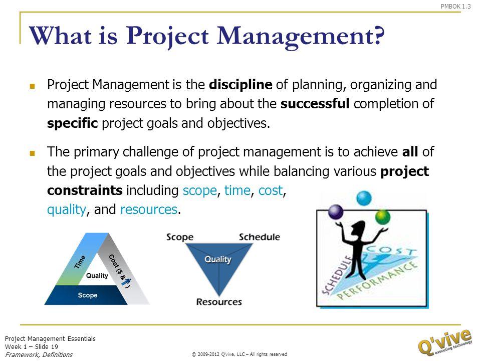 Project Management Essentials Week 1 – Slide 19 © 2009-2011 Q'vive, LLC – All rights reserved © 2009-2012 Q'vive, LLC – All rights reserved What is Pr