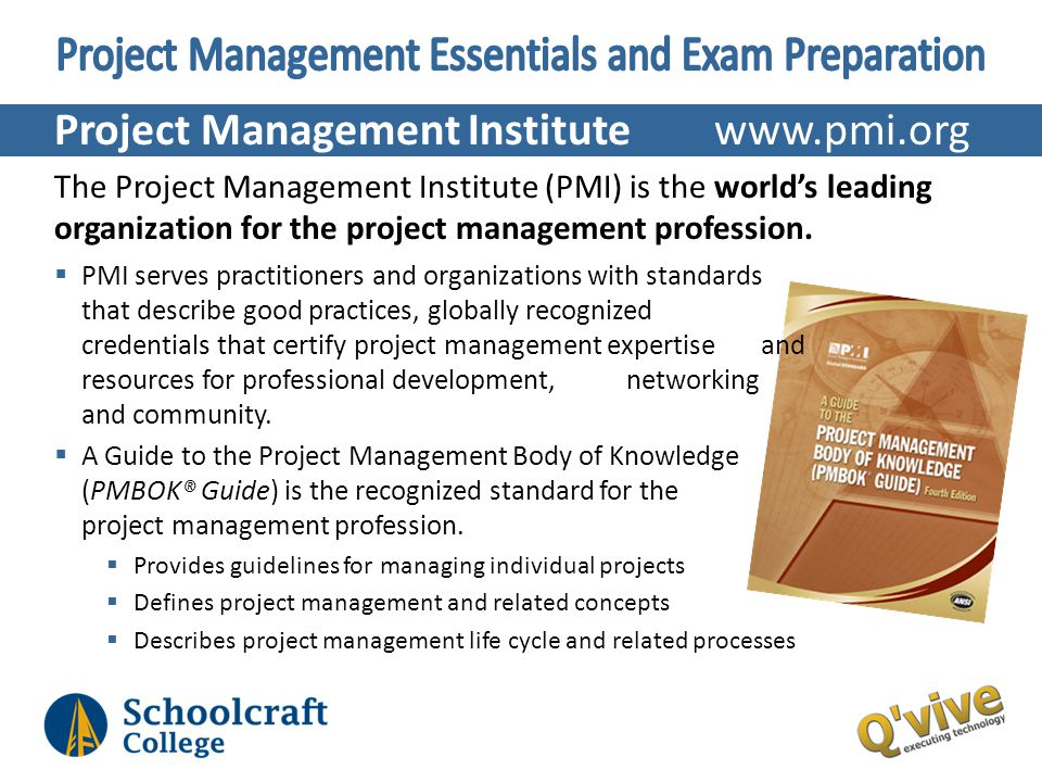 Project Management Institute www.pmi.org The Project Management Institute (PMI) is the worlds leading organization for the project management professi