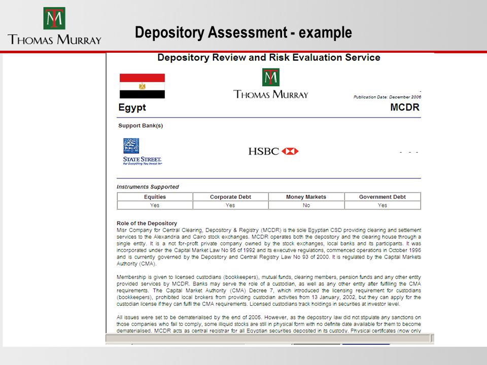 Depository Assessment - example