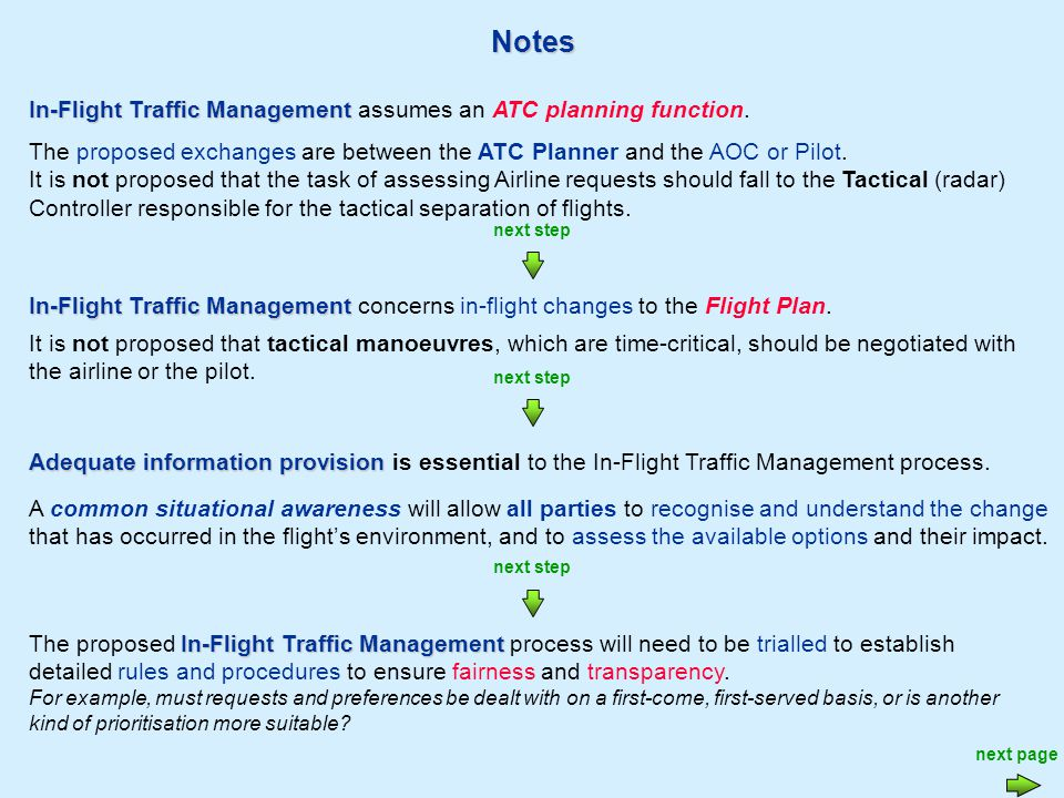 Notes In-Flight Traffic Management The proposed In-Flight Traffic Management process will need to be trialled to establish detailed rules and procedures to ensure fairness and transparency.