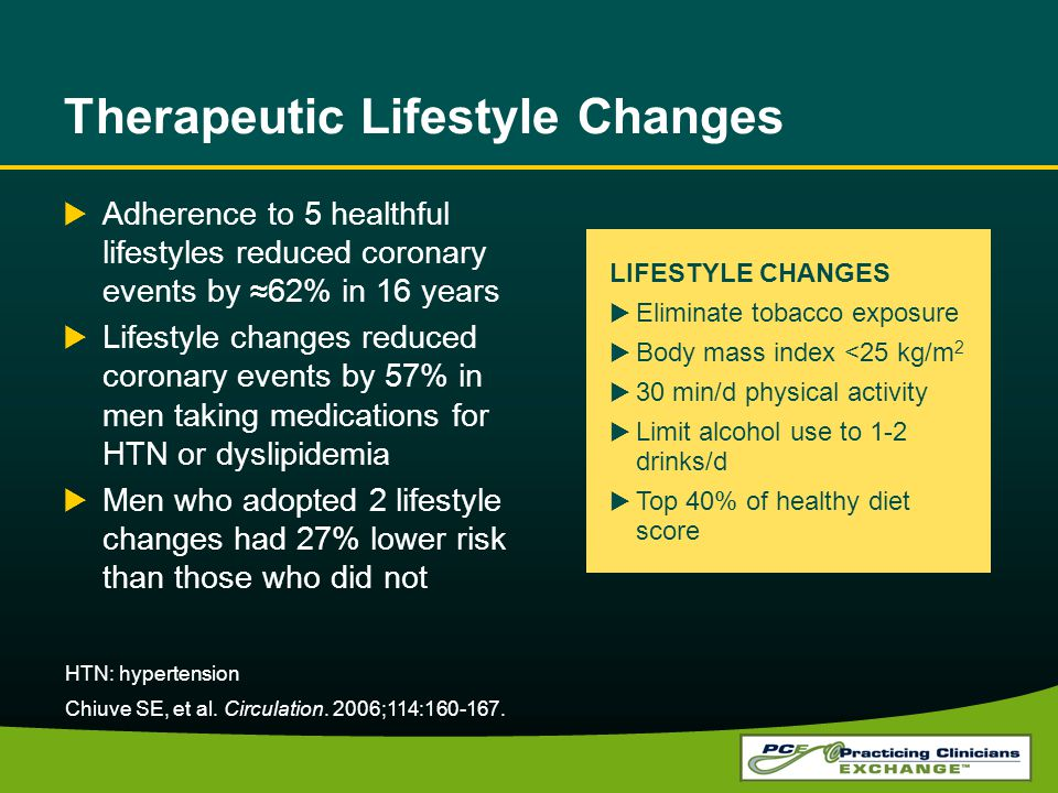 Therapeutic Lifestyle Changes Adherence to 5 healthful lifestyles reduced coronary events by 62% in 16 years Lifestyle changes reduced coronary events by 57% in men taking medications for HTN or dyslipidemia Men who adopted 2 lifestyle changes had 27% lower risk than those who did not HTN: hypertension Chiuve SE, et al.