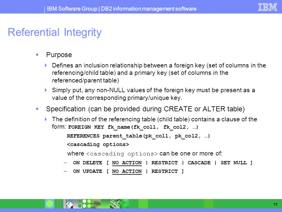 IBM Software Group | DB2 information management software 11 Referential Integrity Purpose Defines an inclusion relationship between a foreign key (set of columns in the referencing/child table) and a primary key (set of columns in the referenced/parent table) Simply put, any non-NULL values of the foreign key must be present as a value of the corresponding primary/unique key.
