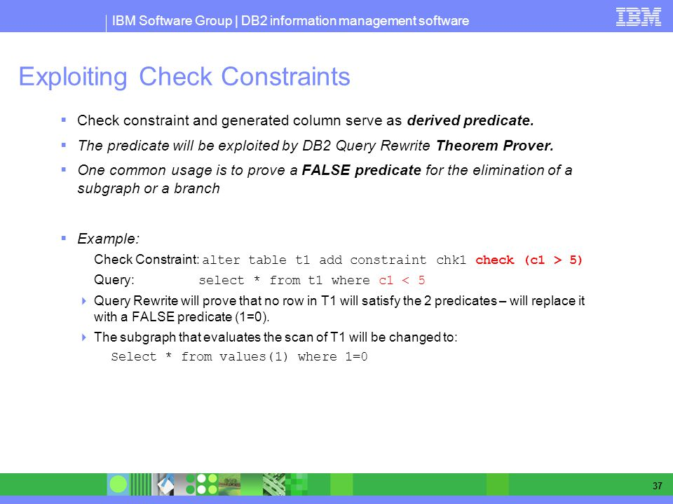 IBM Software Group | DB2 information management software 37 Exploiting Check Constraints Check constraint and generated column serve as derived predicate.