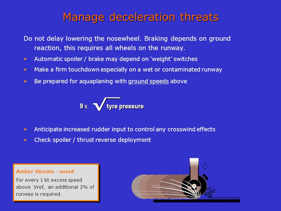 Manage deceleration threats Do not delay lowering the nosewheel. Braking depends on ground reaction, this requires all wheels on the runway. Automatic
