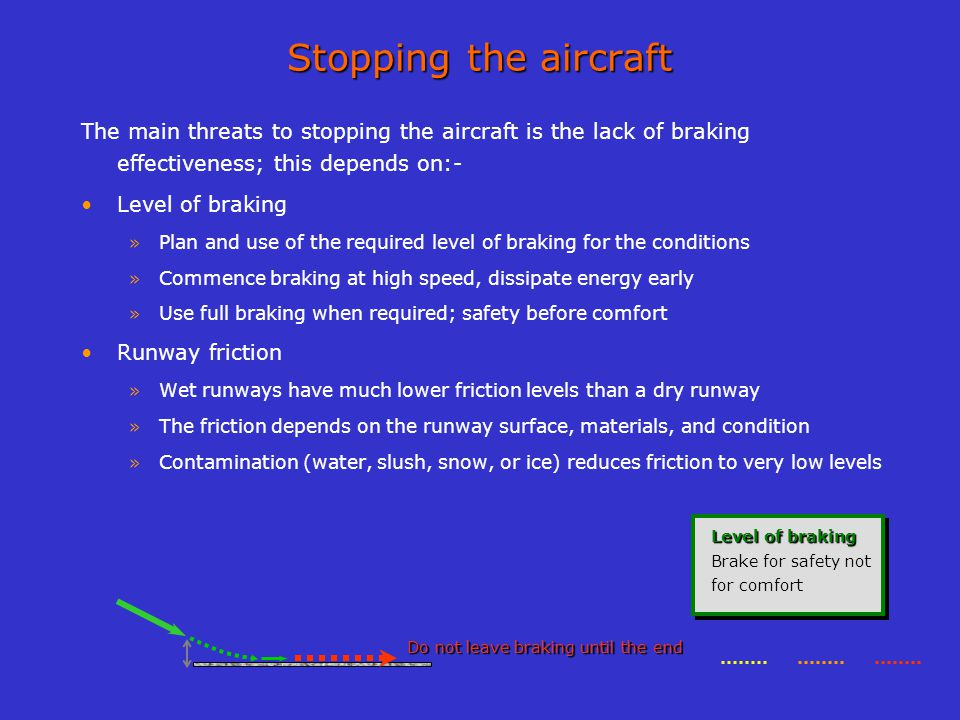 Stopping the aircraft The main threats to stopping the aircraft is the lack of braking effectiveness; this depends on:- Level of braking » Plan and us