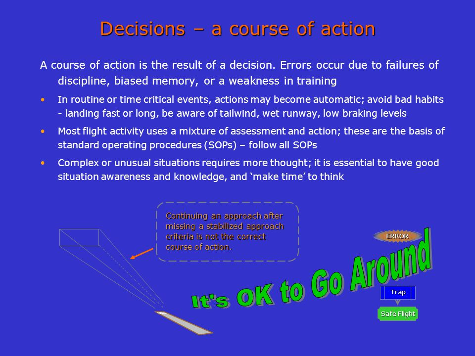 Trap Avoid Safe Flight ERROR Identify Decisions – a course of action A course of action is the result of a decision. Errors occur due to failures of d