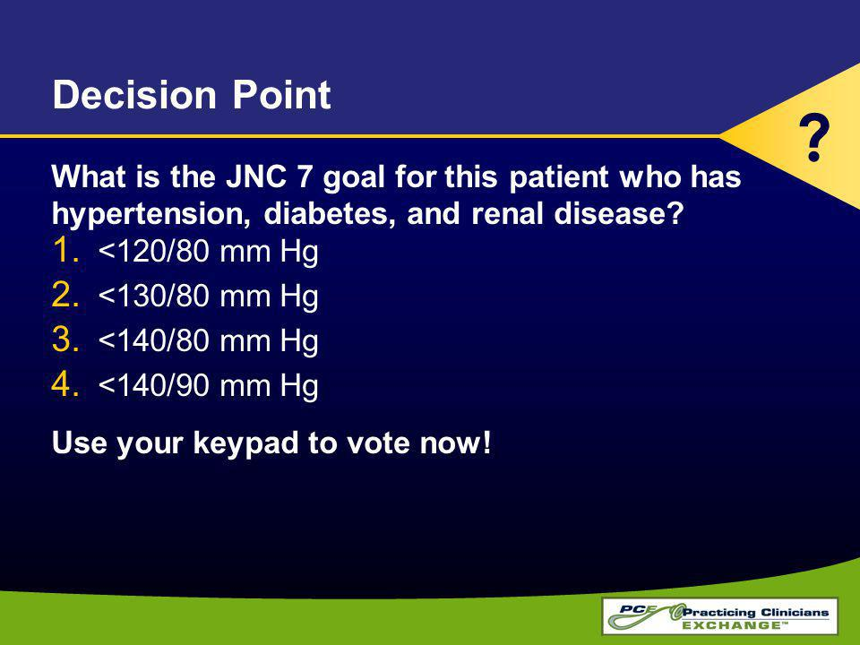Decision Point What is the JNC 7 goal for this patient who has hypertension, diabetes, and renal disease.