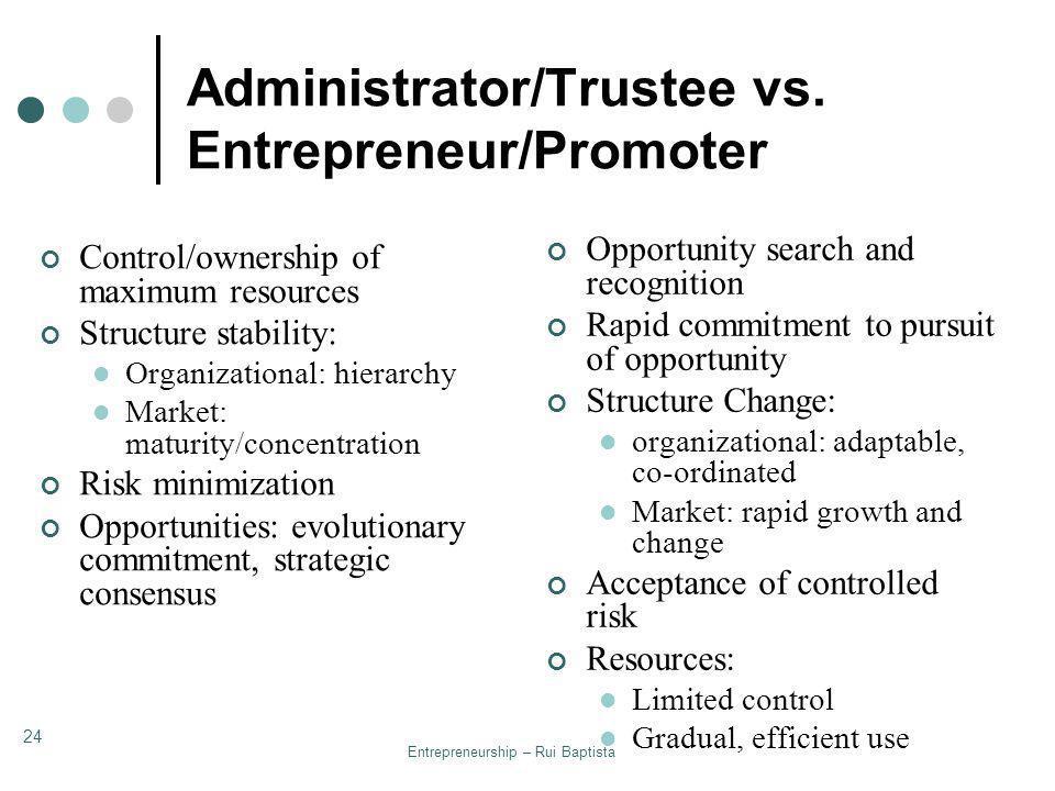 Entrepreneurship – Rui Baptista 24 Administrator/Trustee vs. Entrepreneur/Promoter Control/ownership of maximum resources Structure stability: Organiz