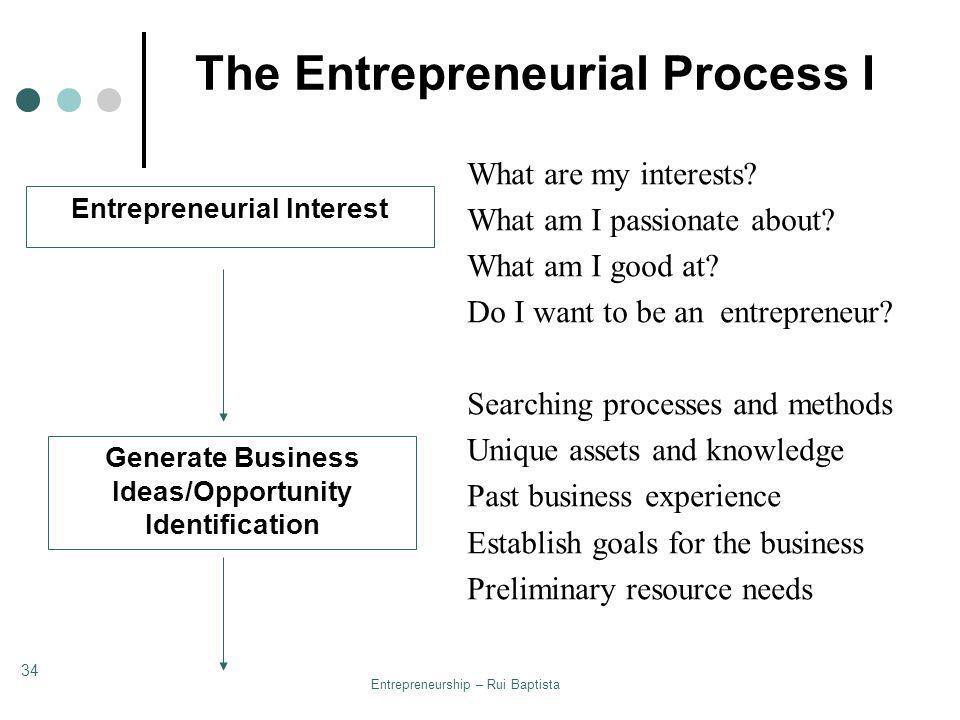 Entrepreneurship – Rui Baptista 34 The Entrepreneurial Process I Entrepreneurial Interest Generate Business Ideas/Opportunity Identification What are