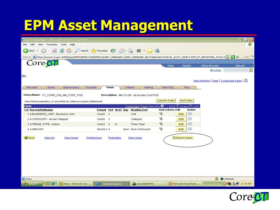 10 CO-59 QUERIES CT_CORE_FIN_AM_COST_NEG CT_CORE_FIN_AM_COST_POS EPM Asset Management
