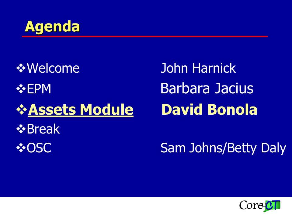 15 Agenda WelcomeJohn Harnick EPM Barbara Jacius Assets ModuleDavid Bonola Break OSC Sam Johns/Betty Daly