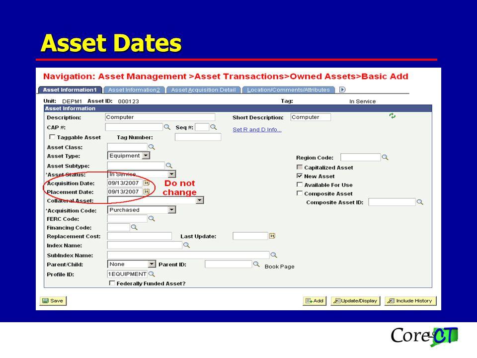 19 Asset Dates