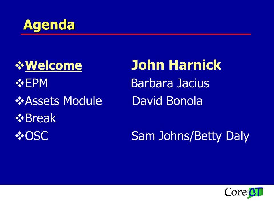 2 Agenda Welcome John Harnick EPM Barbara Jacius Assets Module David Bonola Break OSC Sam Johns/Betty Daly