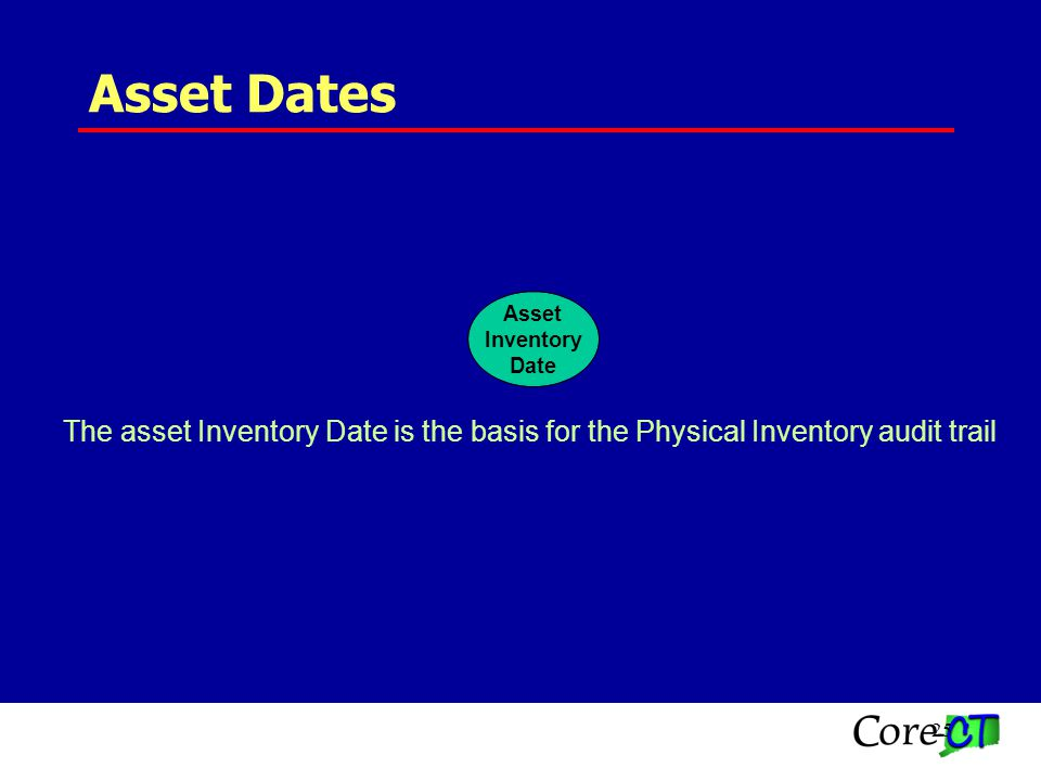 25 Asset Dates Asset Inventory Date The asset Inventory Date is the basis for the Physical Inventory audit trail