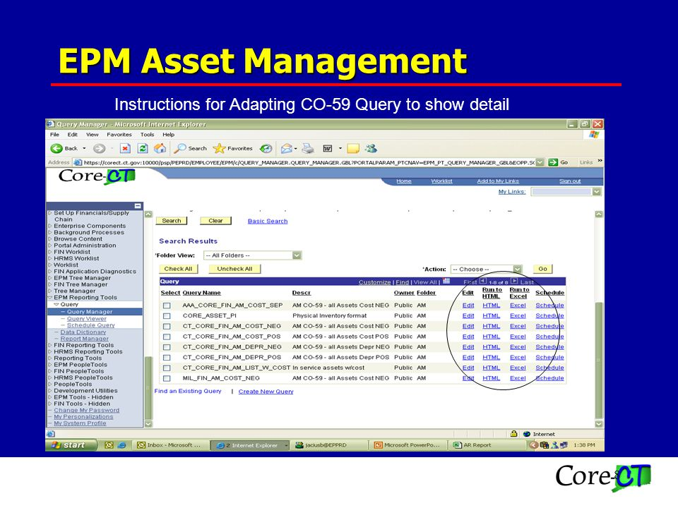 8 Instructions for Adapting CO-59 Query to show detail EPM Asset Management