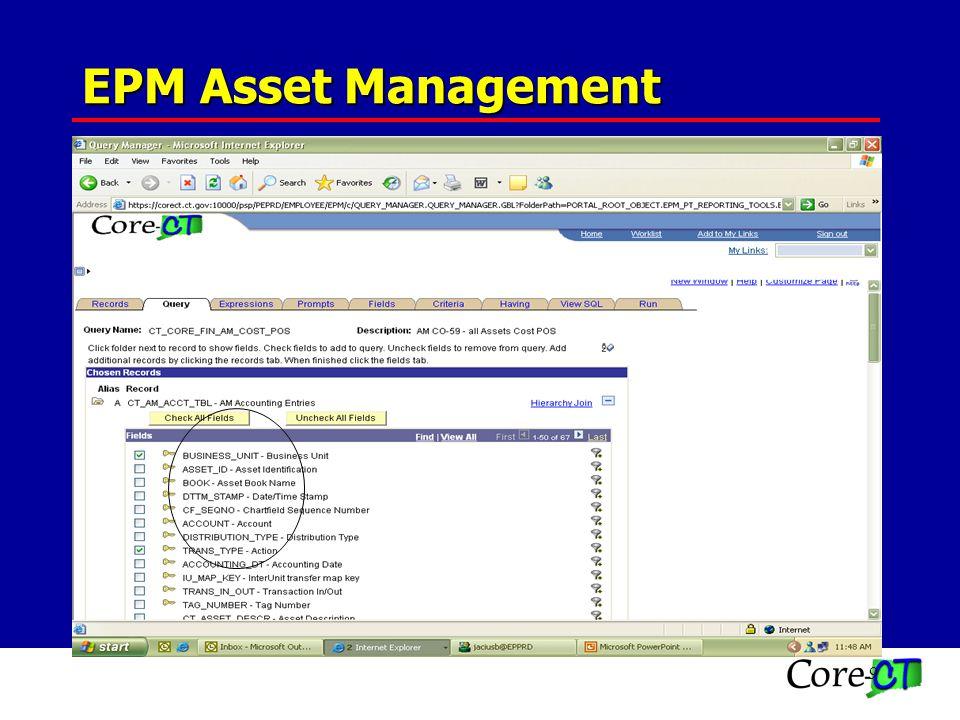 9 CO-59 QUERIES CT_CORE_FIN_AM_COST_NEG CT_CORE_FIN_AM_COST_POS EPM Asset Management