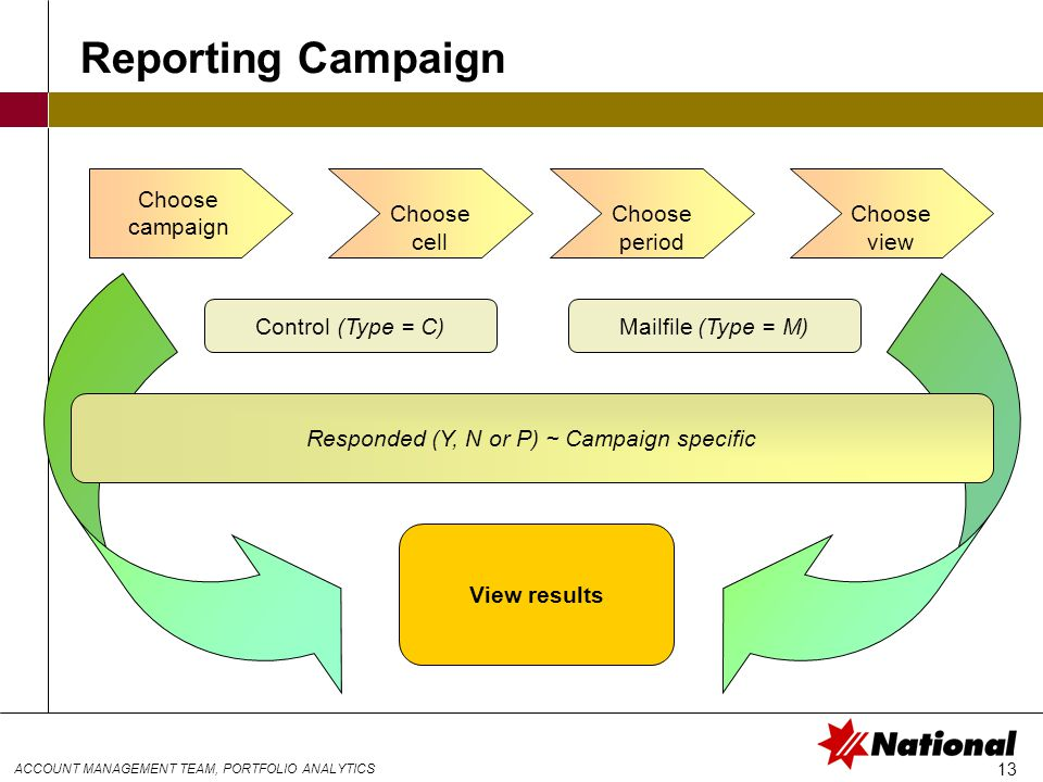 ACCOUNT MANAGEMENT TEAM, PORTFOLIO ANALYTICS 13 Control (Type = C)Mailfile (Type = M) Responded (Y, N or P) ~ Campaign specific View results Choose campaign Choose cell Choose period Reporting Campaign Choose view