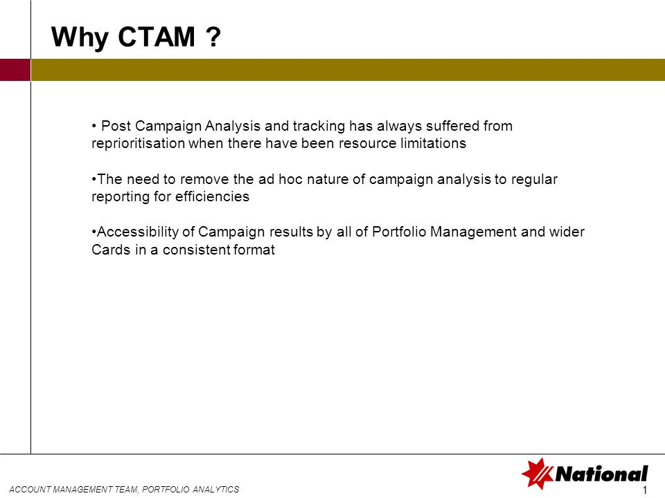 ACCOUNT MANAGEMENT TEAM, PORTFOLIO ANALYTICS 1 Why CTAM .