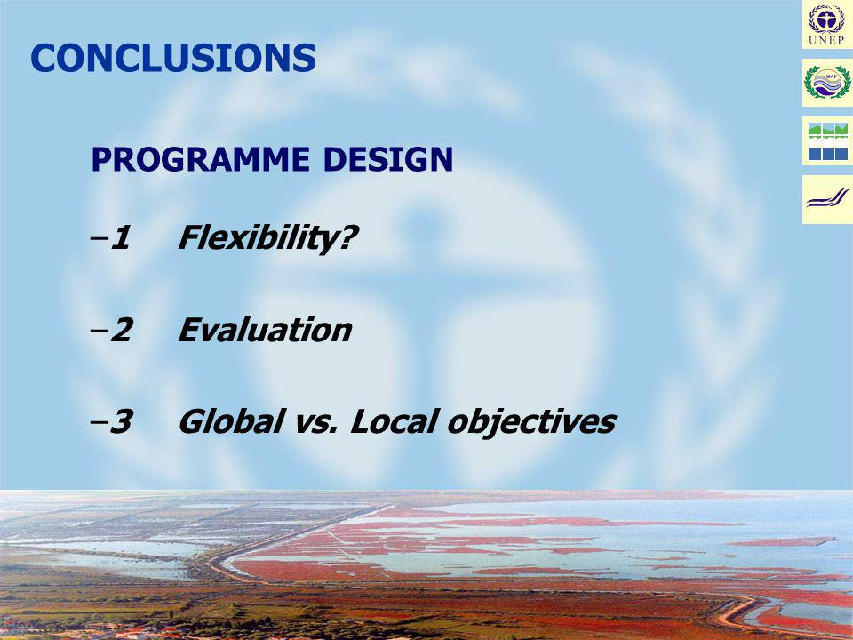 Joint MAP/METAP Workshop on Coastal Area Management Projects: Improving the Implementation - Malta, January 17-19, 2002 CONCLUSIONS PROGRAMME DESIGN –