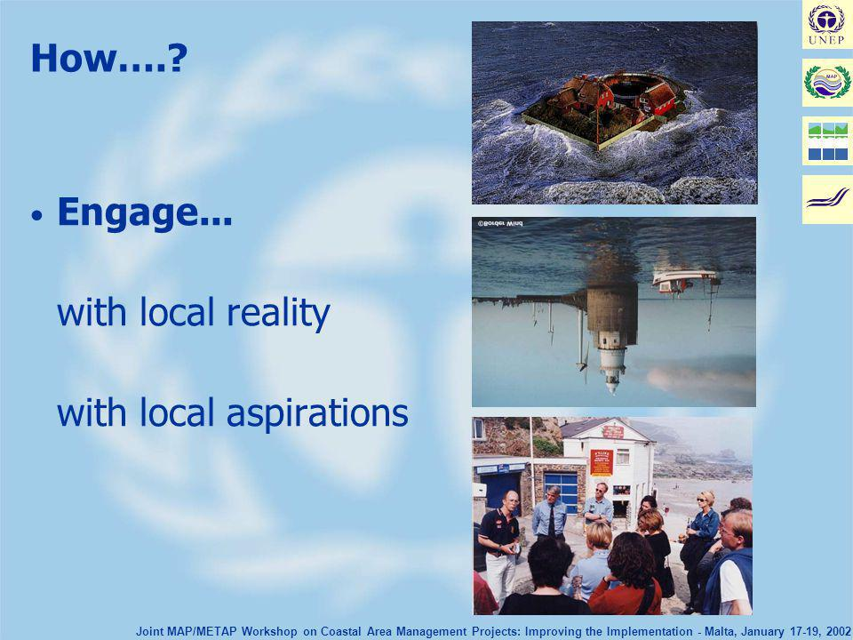 Joint MAP/METAP Workshop on Coastal Area Management Projects: Improving the Implementation - Malta, January 17-19, 2002 How….? Engage... with local re